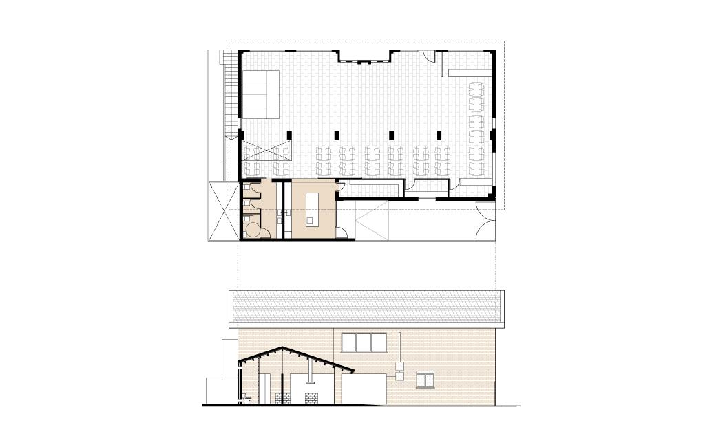 Alzado-planta-y-sección-arquitectura-casal-de-ancianos